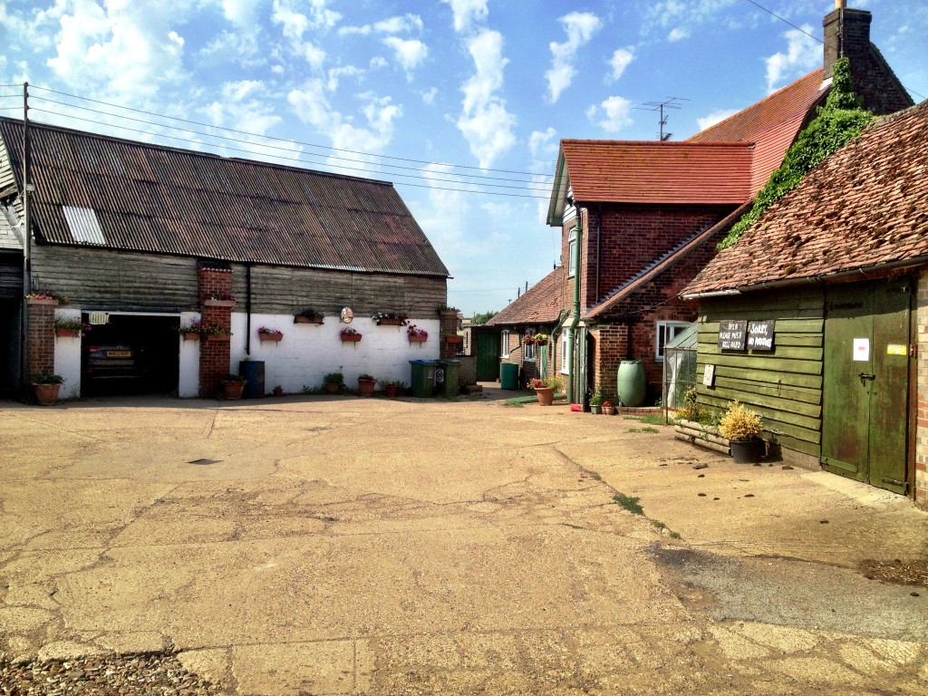 Farm area, including farm shop at Cross Keys Farm, Dagnall