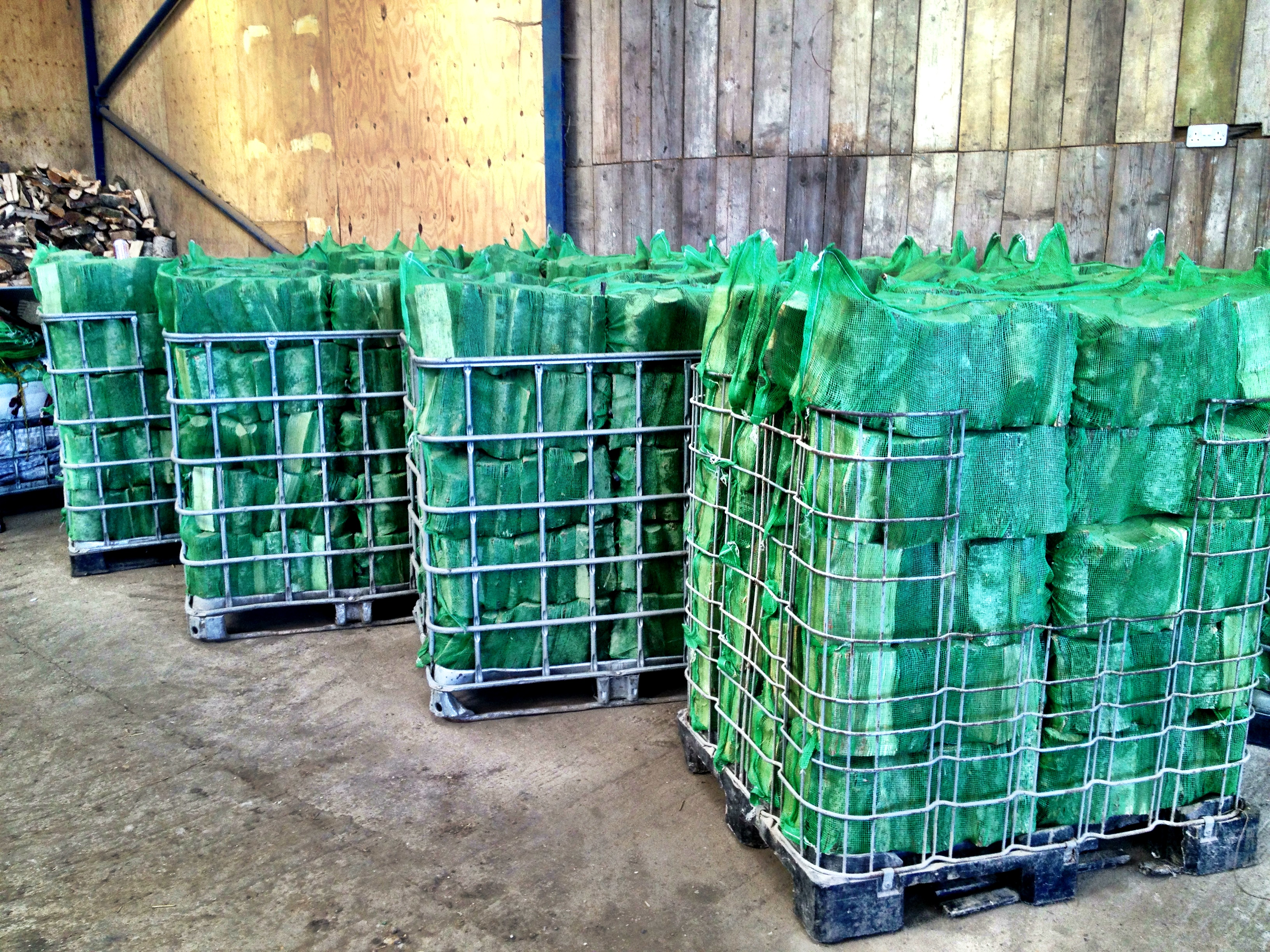 Pallets of bagged logs
